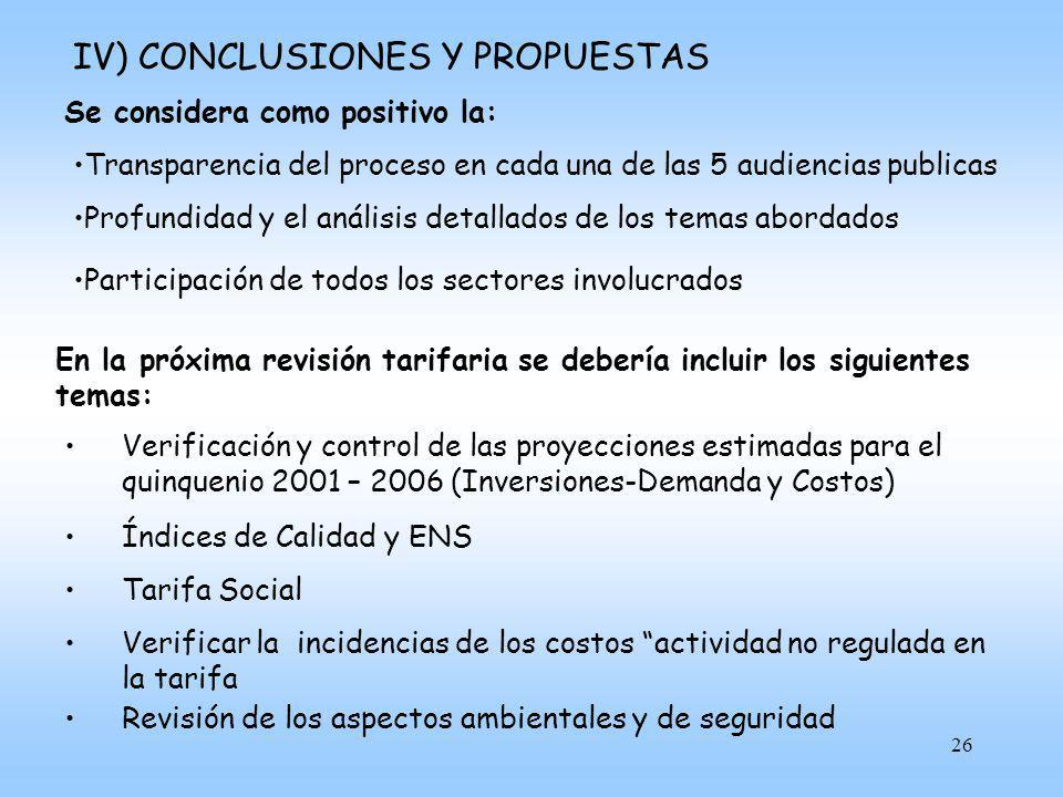 IV) CONCLUSIONES Y PROPUESTAS
