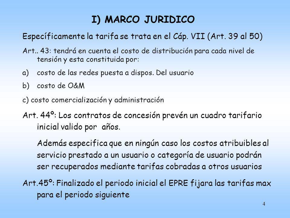 I) MARCO JURIDICO Específicamente la tarifa se trata en el Cáp. VII (Art. 39 al 50)
