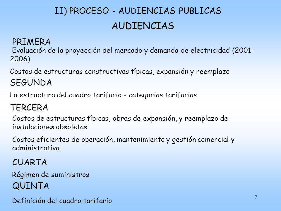 AUDIENCIAS II) PROCESO - AUDIENCIAS PUBLICAS PRIMERA SEGUNDA TERCERA
