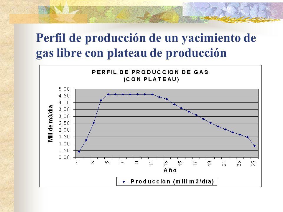 Perfil de producción de un yacimiento de gas libre con plateau de producción