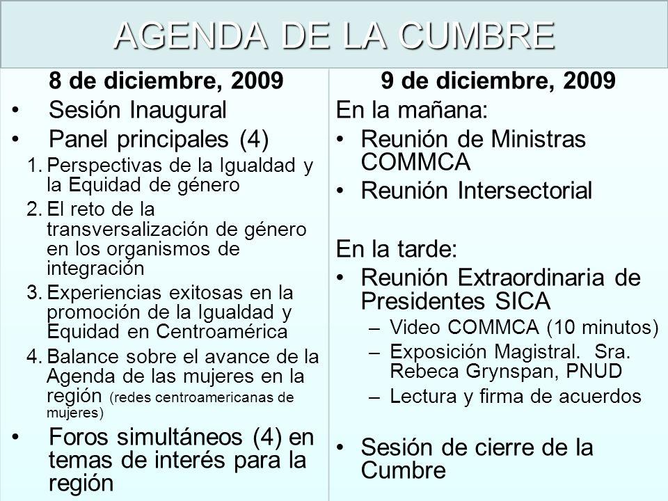 AGENDA DE LA CUMBRE 8 de diciembre, 2009 Sesión Inaugural
