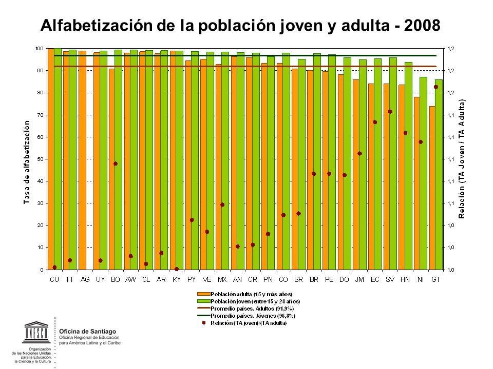 Alfabetización de la población joven y adulta - 2008