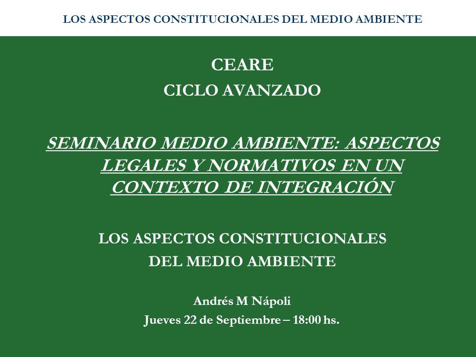 LOS ASPECTOS CONSTITUCIONALES Jueves 22 de Septiembre – 18:00 hs.