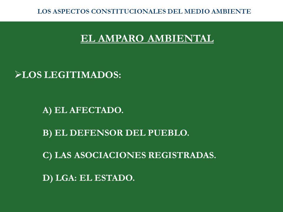EL AMPARO AMBIENTAL LOS LEGITIMADOS: A) EL AFECTADO.