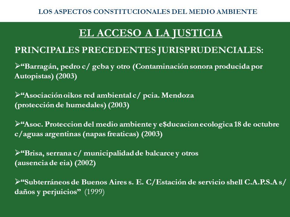 EL ACCESO A LA JUSTICIA PRINCIPALES PRECEDENTES JURISPRUDENCIALES:
