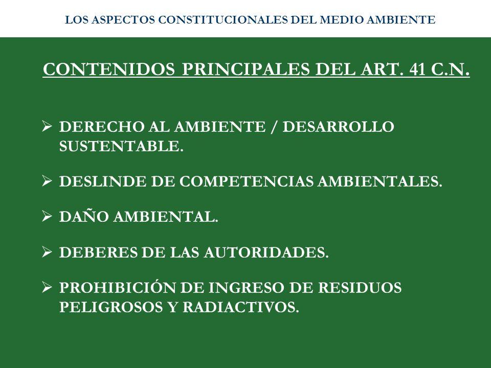 CONTENIDOS PRINCIPALES DEL ART. 41 C.N.