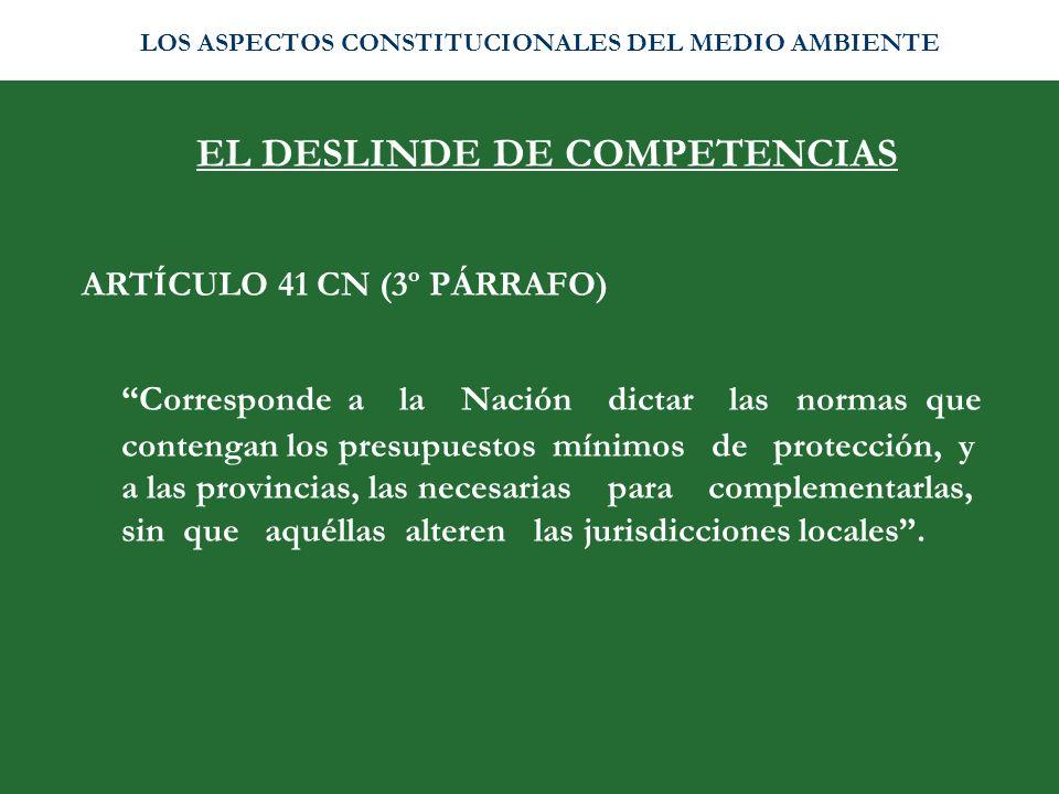 EL DESLINDE DE COMPETENCIAS
