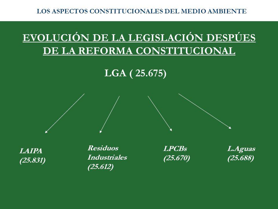 EVOLUCIÓN DE LA LEGISLACIÓN DESPÚES DE LA REFORMA CONSTITUCIONAL