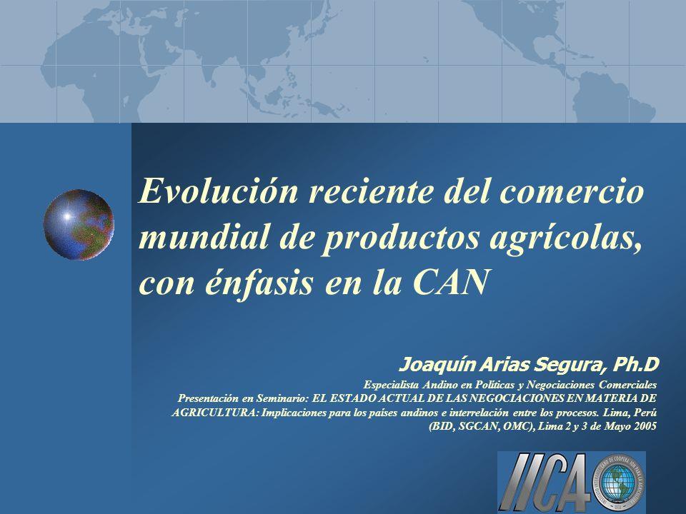 Evolución reciente del comercio mundial de productos agrícolas, con énfasis en la CAN