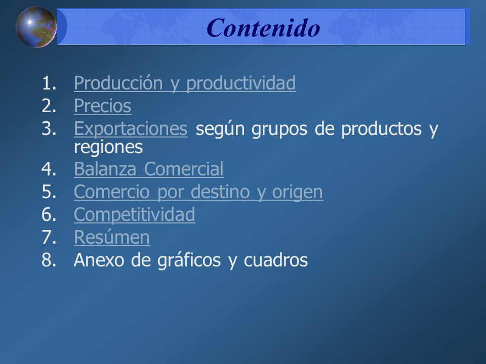 Contenido Producción y productividad Precios