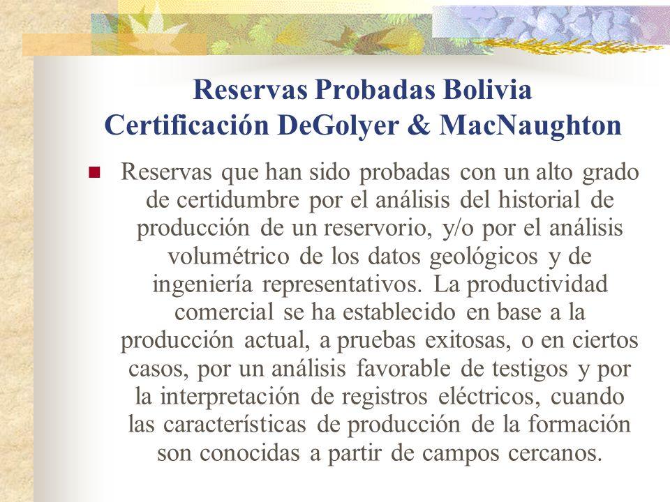 Reservas Probadas Bolivia Certificación DeGolyer & MacNaughton