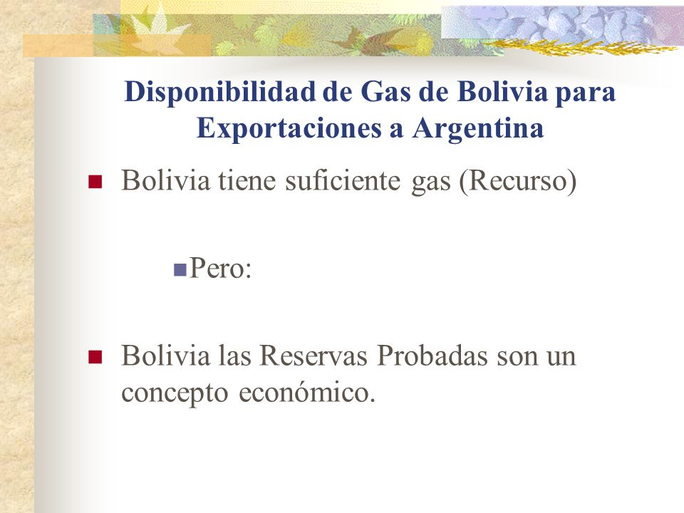 Disponibilidad de Gas de Bolivia para Exportaciones a Argentina
