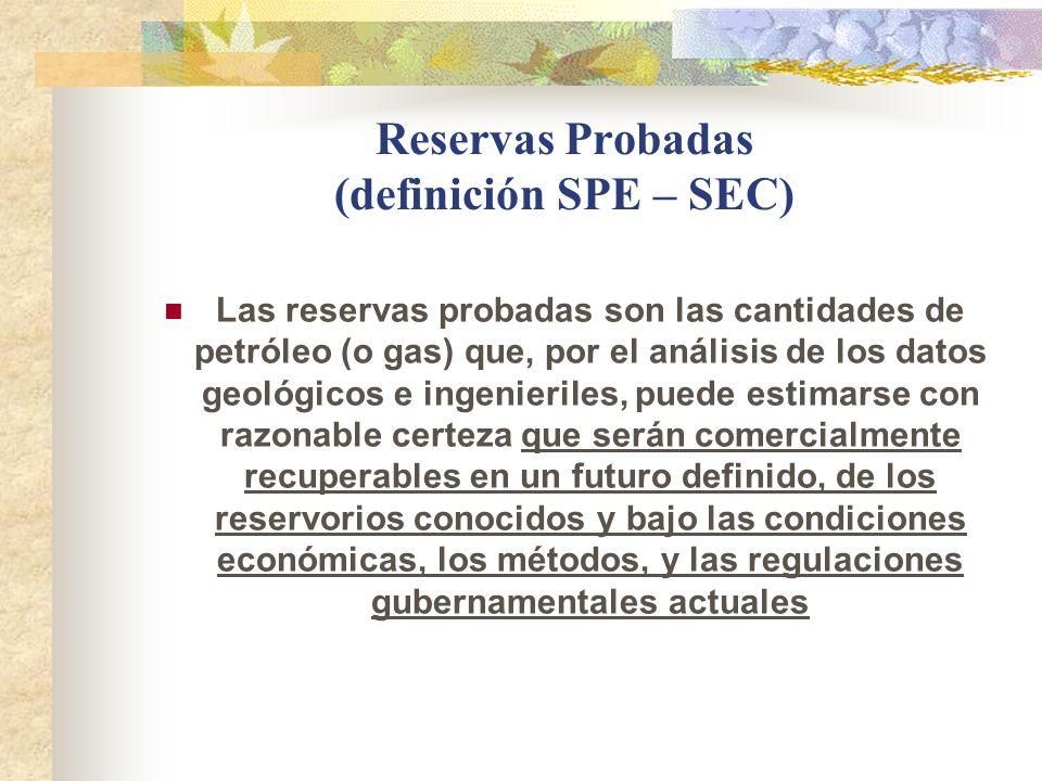 Reservas Probadas (definición SPE – SEC)