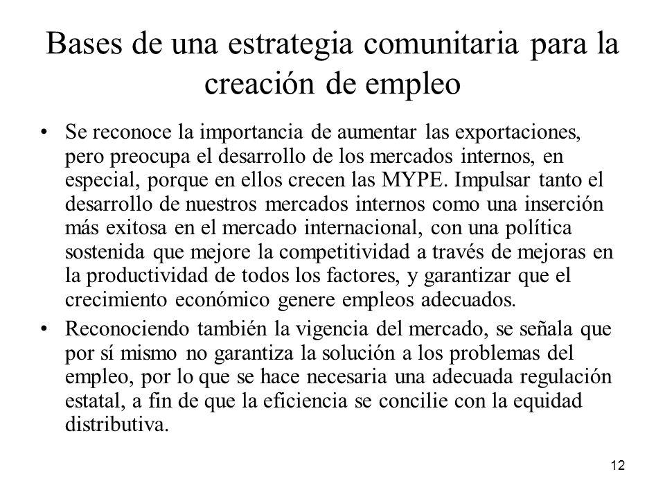 Bases de una estrategia comunitaria para la creación de empleo