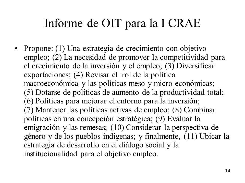 Informe de OIT para la I CRAE