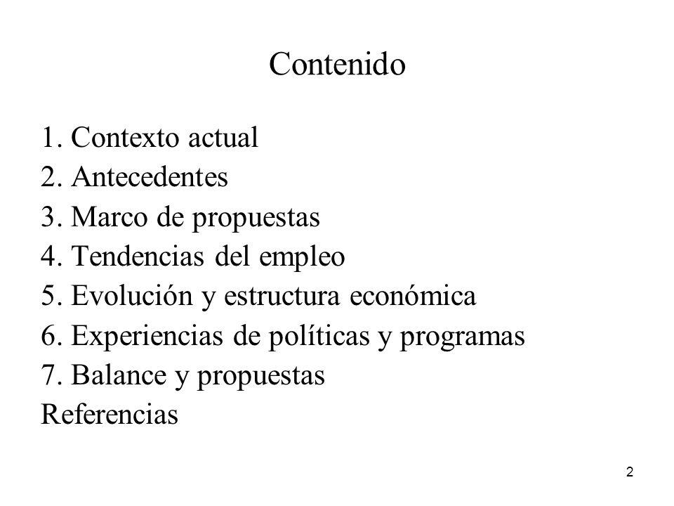 Contenido 1. Contexto actual 2. Antecedentes 3. Marco de propuestas