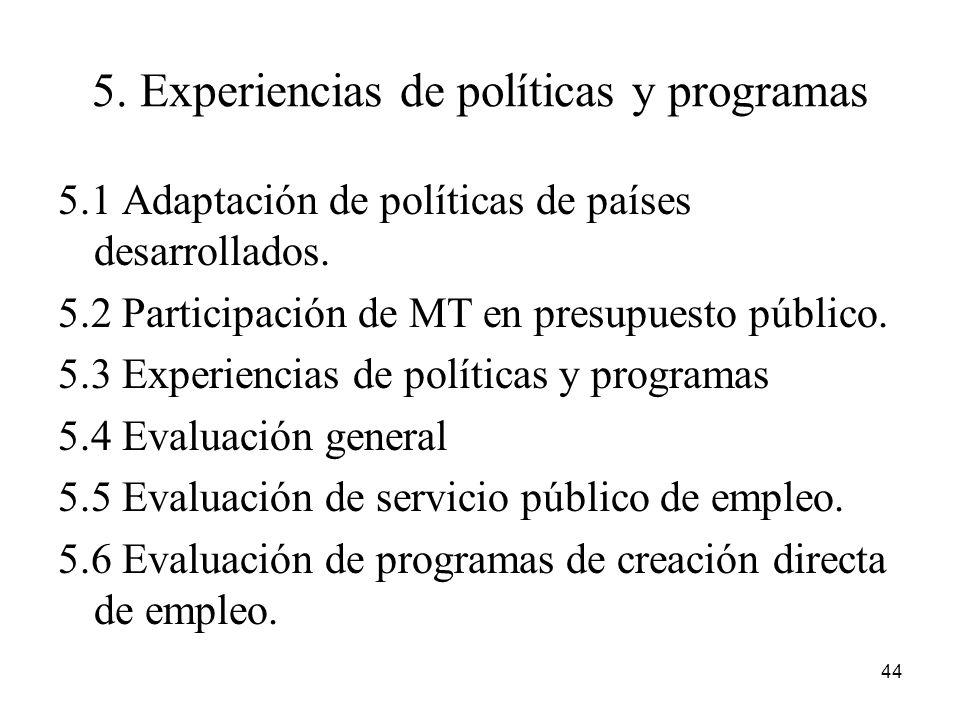 5. Experiencias de políticas y programas