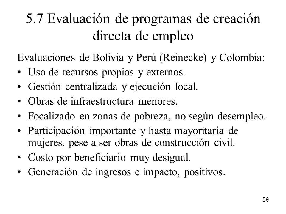 5.7 Evaluación de programas de creación directa de empleo