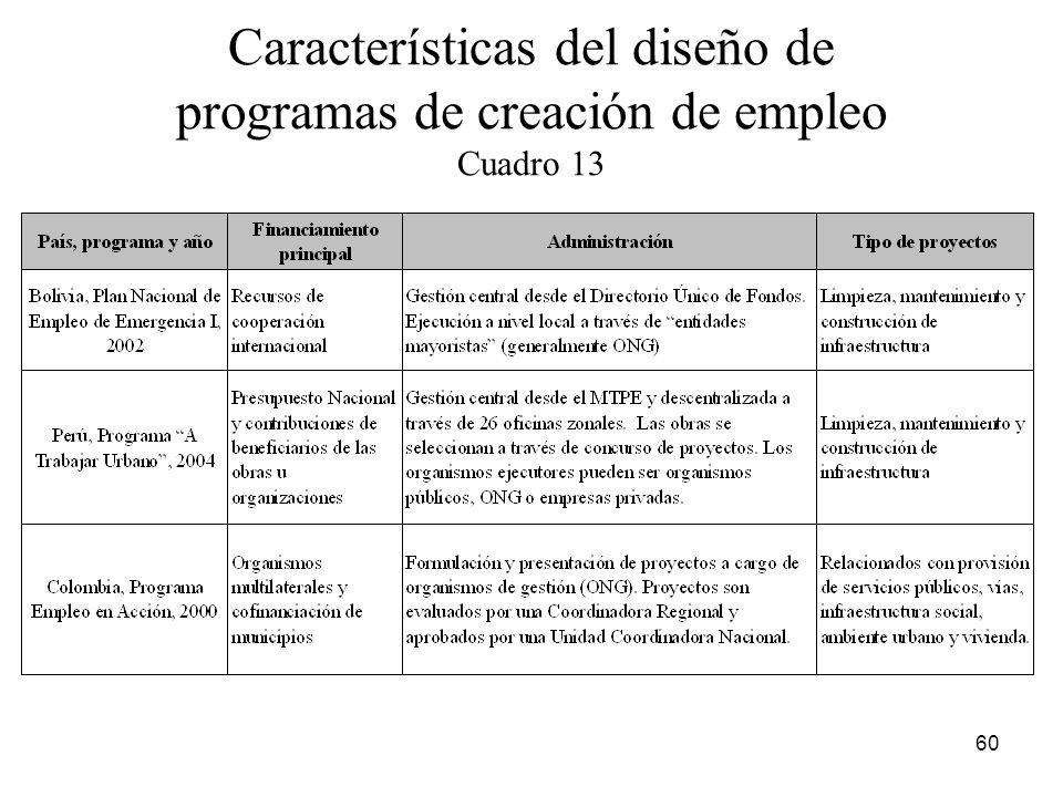 Características del diseño de programas de creación de empleo Cuadro 13
