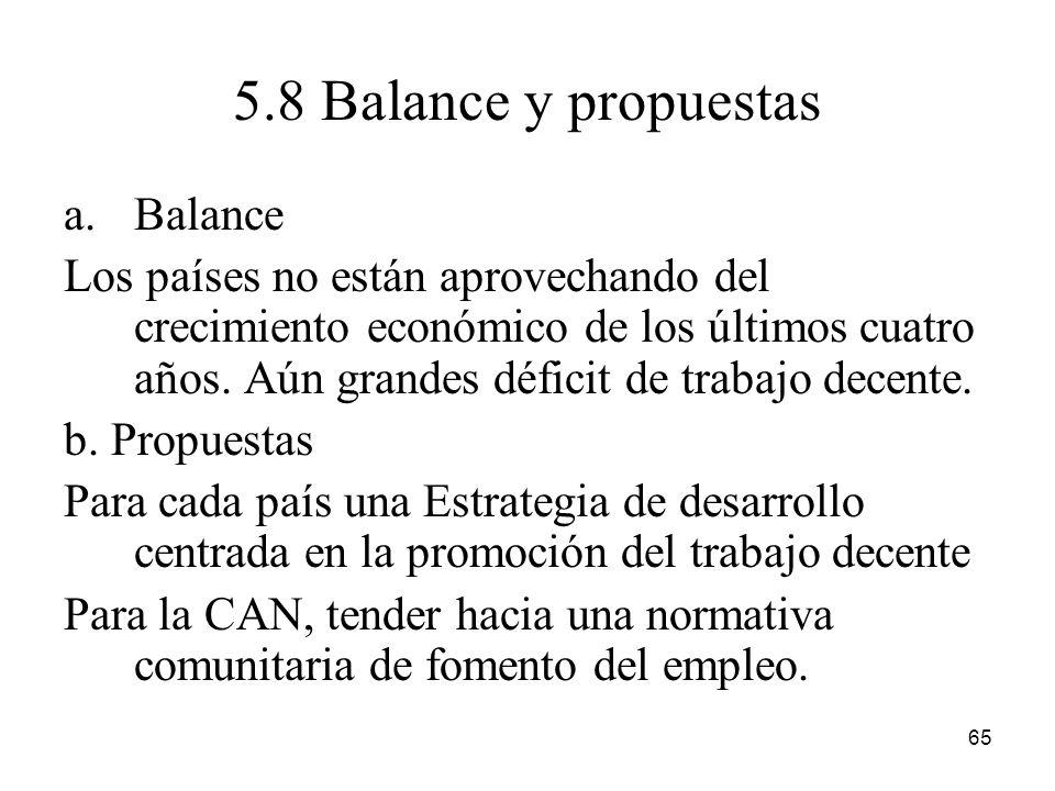 5.8 Balance y propuestas Balance