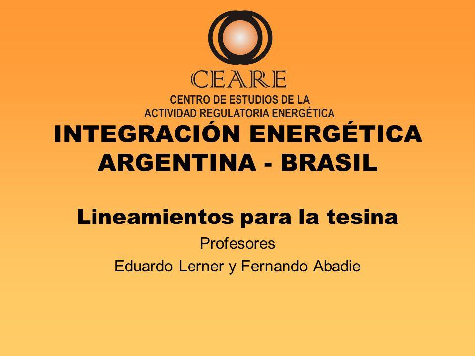 INTEGRACIÓN ENERGÉTICA ARGENTINA - BRASIL
