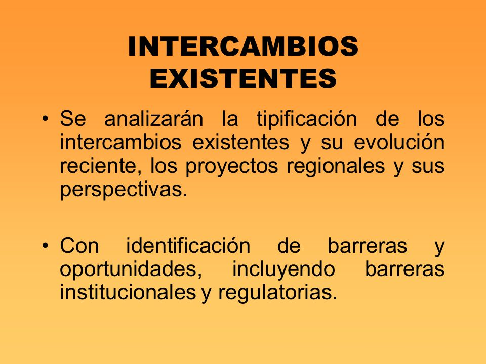 INTERCAMBIOS EXISTENTES