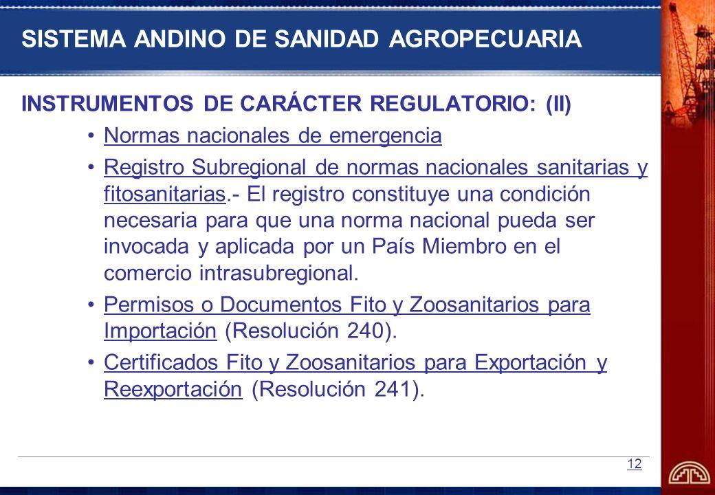 SISTEMA ANDINO DE SANIDAD AGROPECUARIA