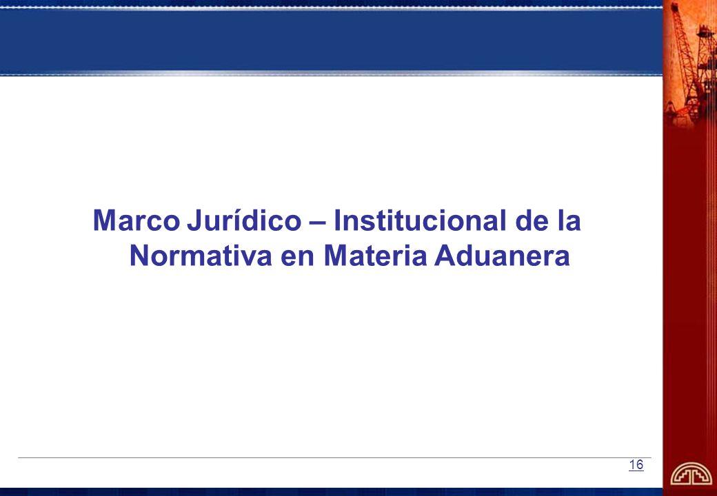 Marco Jurídico – Institucional de la Normativa en Materia Aduanera