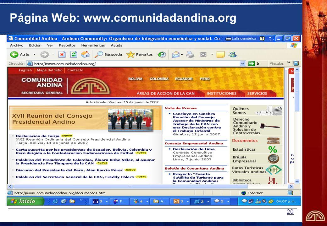Página Web: www.comunidadandina.org