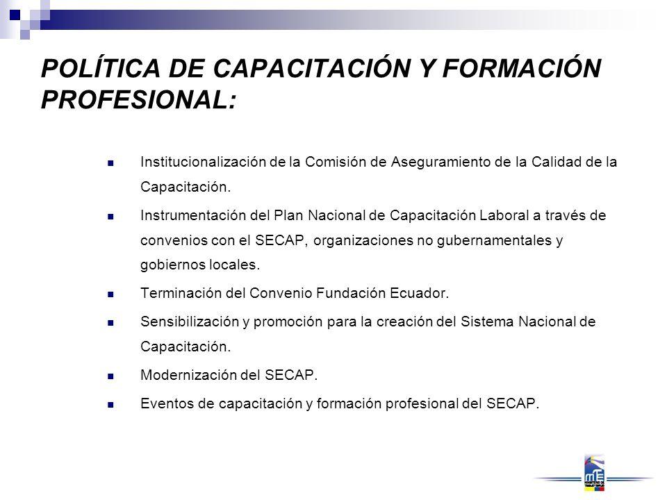 POLÍTICA DE CAPACITACIÓN Y FORMACIÓN PROFESIONAL: