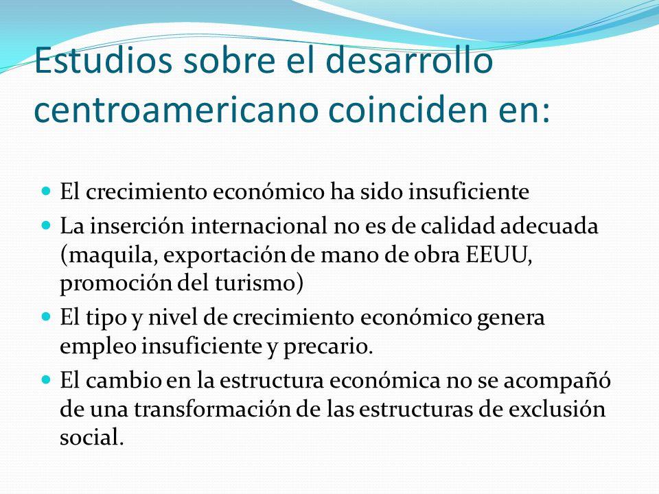 Estudios sobre el desarrollo centroamericano coinciden en: