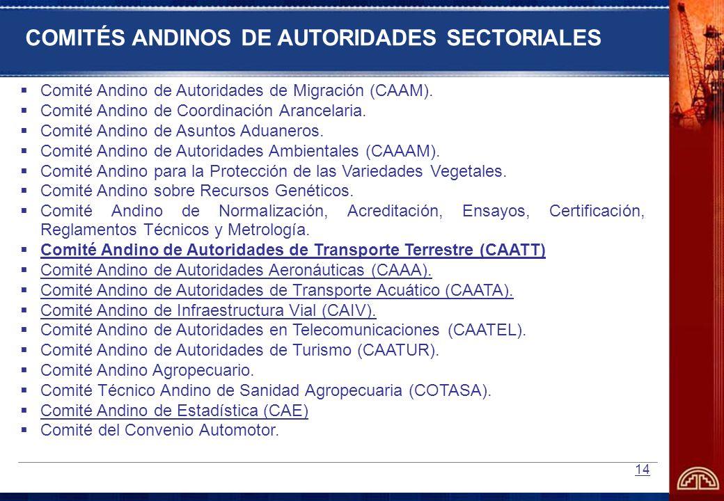 COMITÉS ANDINOS DE AUTORIDADES SECTORIALES