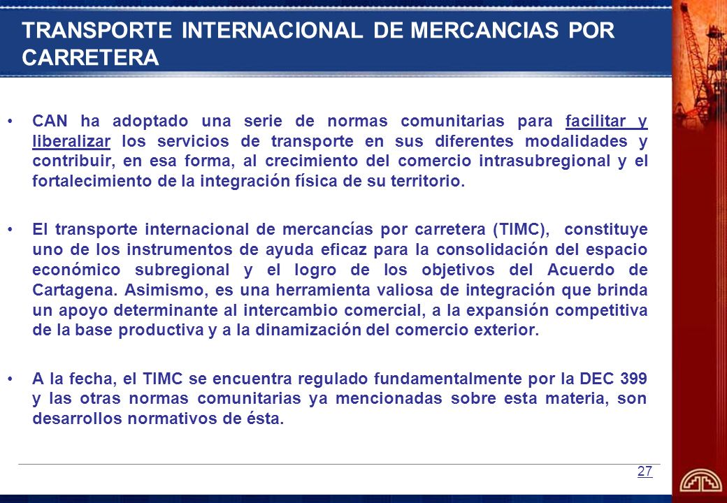 TRANSPORTE INTERNACIONAL DE MERCANCIAS POR CARRETERA