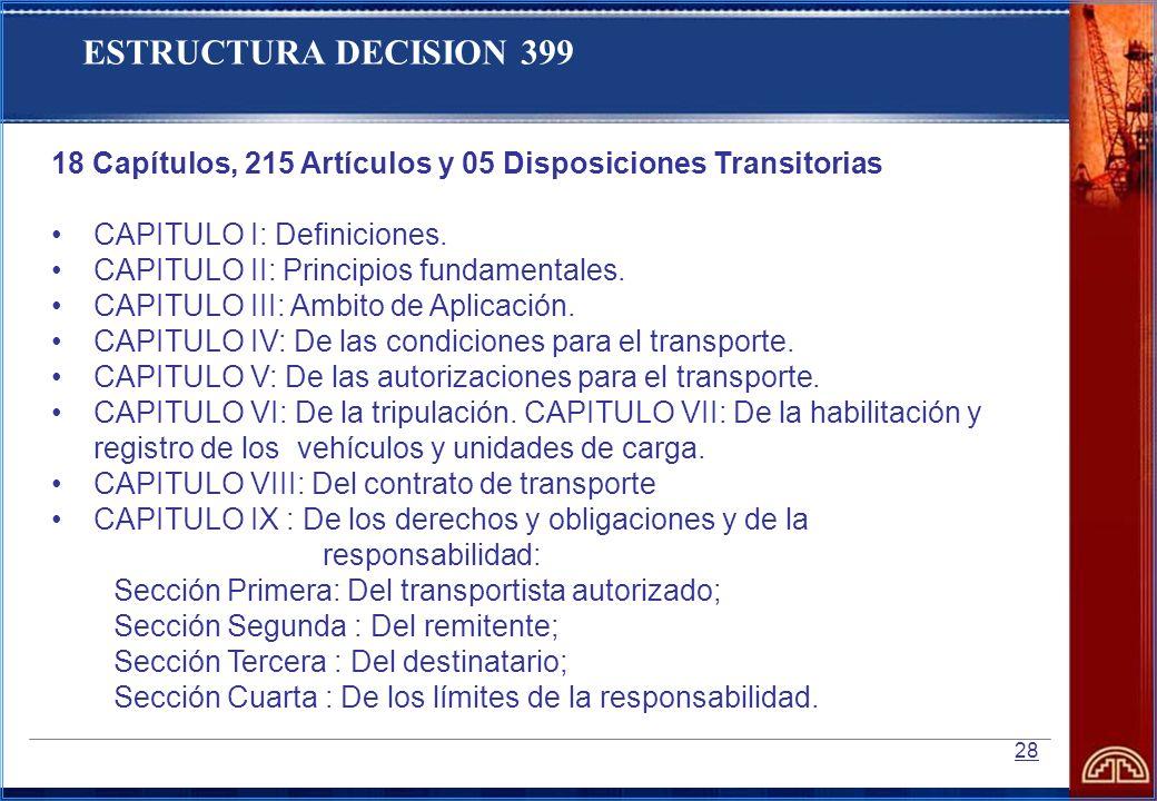 ESTRUCTURA DECISION 399 18 Capítulos, 215 Artículos y 05 Disposiciones Transitorias. CAPITULO I: Definiciones.