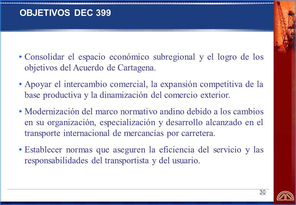 OBJETIVOS DEC 399Consolidar el espacio económico subregional y el logro de los objetivos del Acuerdo de Cartagena.
