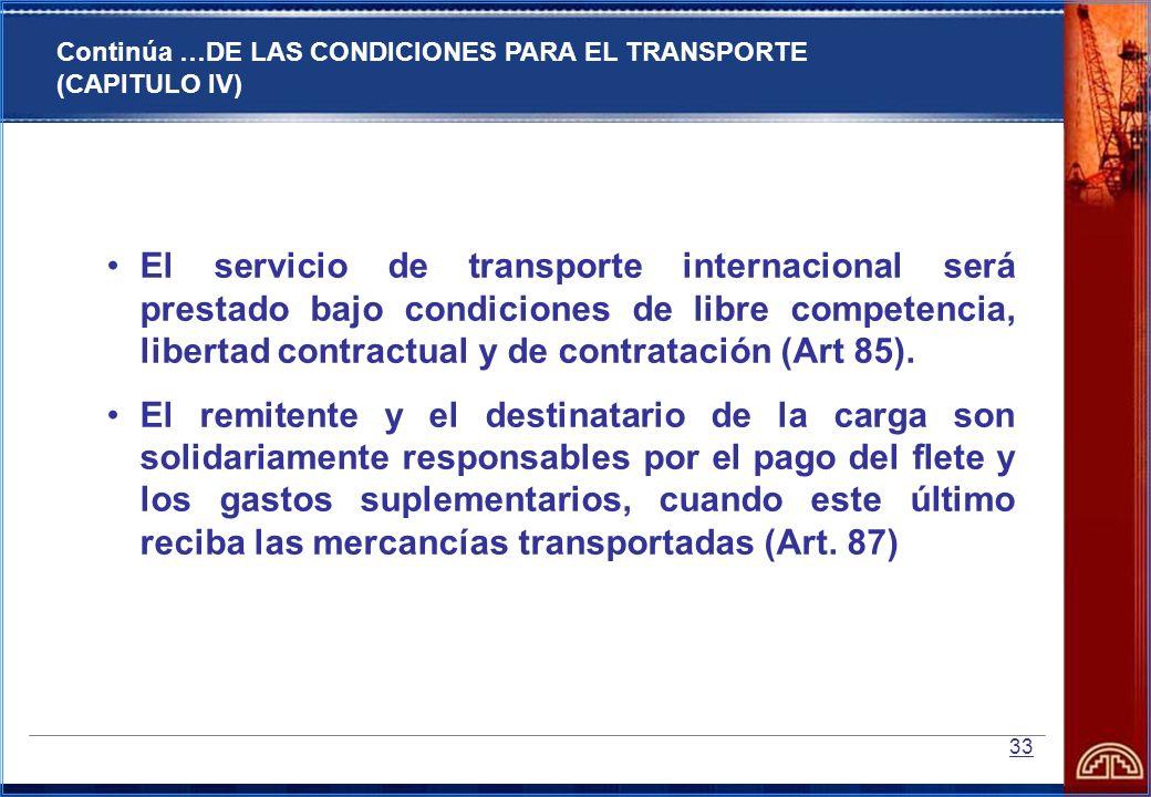 Continúa …DE LAS CONDICIONES PARA EL TRANSPORTE (CAPITULO IV)