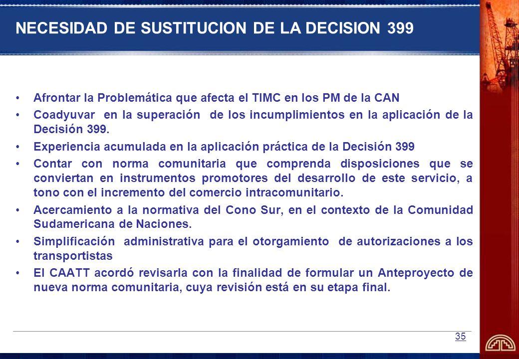 NECESIDAD DE SUSTITUCION DE LA DECISION 399