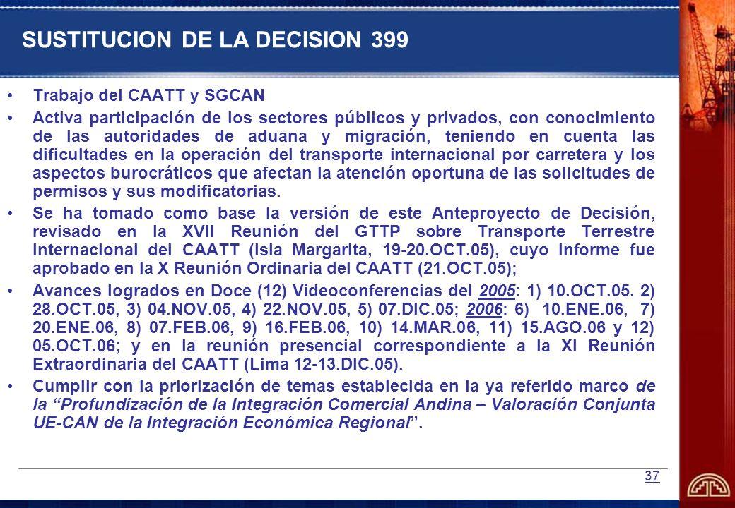 SUSTITUCION DE LA DECISION 399