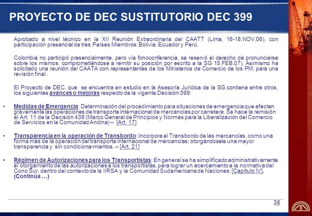 PROYECTO DE DEC SUSTITUTORIO DEC 399
