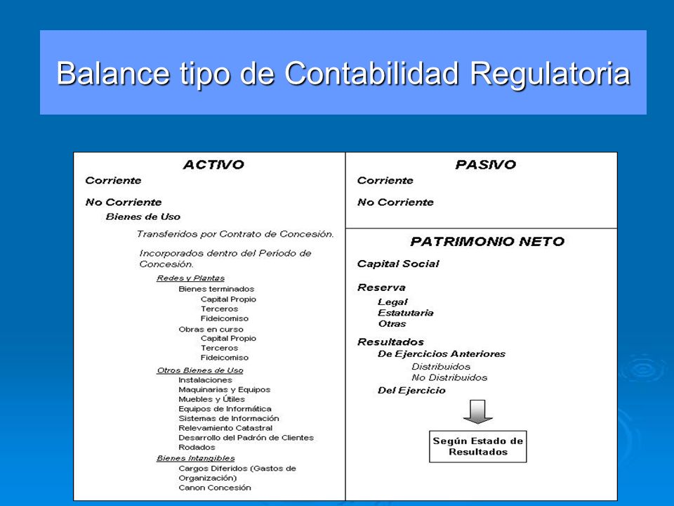 Balance tipo de Contabilidad Regulatoria