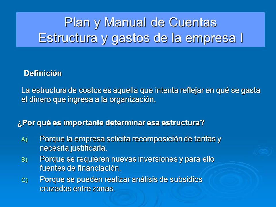 Plan y Manual de Cuentas Estructura y gastos de la empresa I