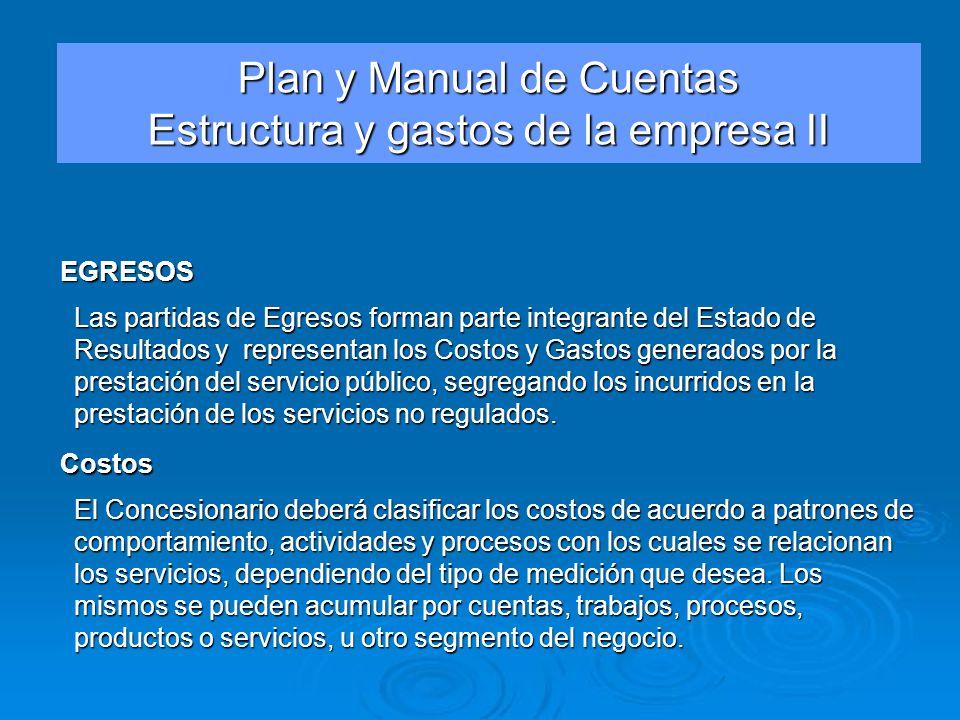 Plan y Manual de Cuentas Estructura y gastos de la empresa II