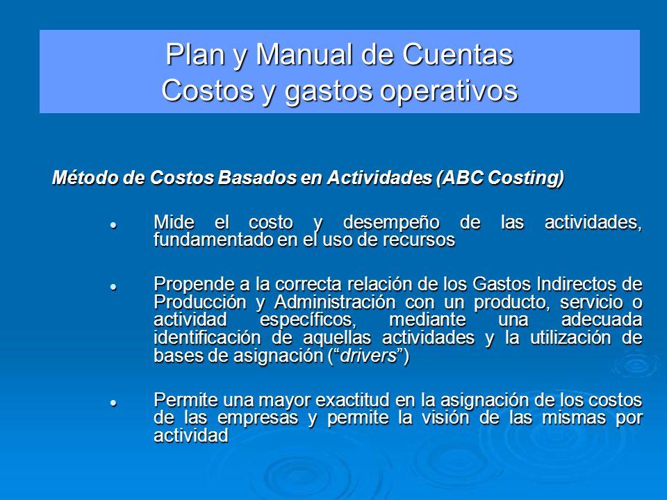 Plan y Manual de Cuentas Costos y gastos operativos