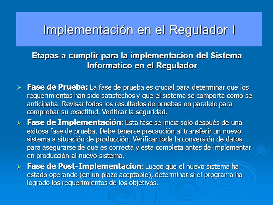 Implementación en el Regulador I