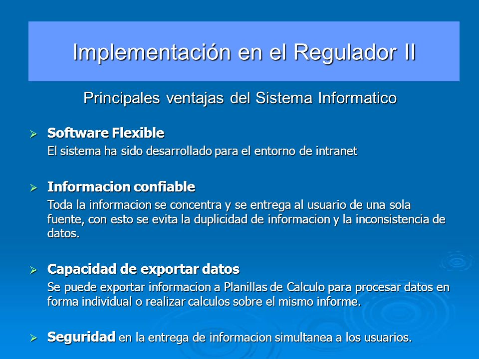 Implementación en el Regulador II