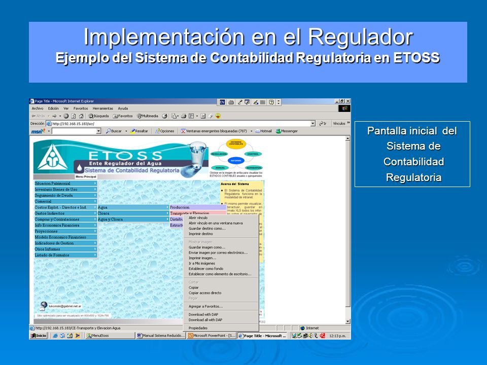 Implementación en el Regulador Ejemplo del Sistema de Contabilidad Regulatoria en ETOSS