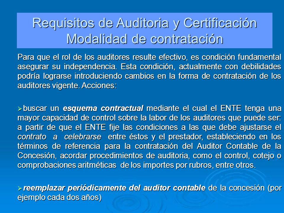 Requisitos de Auditoria y Certificación Modalidad de contratación