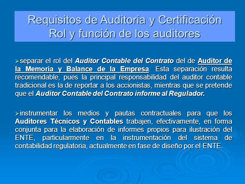 Requisitos de Auditoria y Certificación Rol y función de los auditores