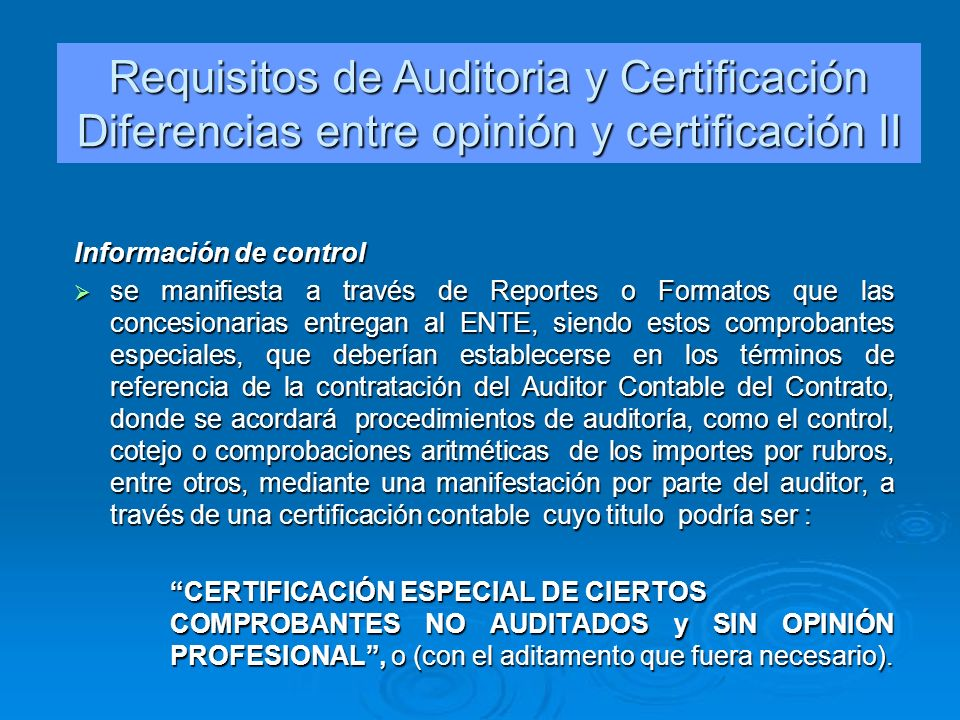 Requisitos de Auditoria y Certificación