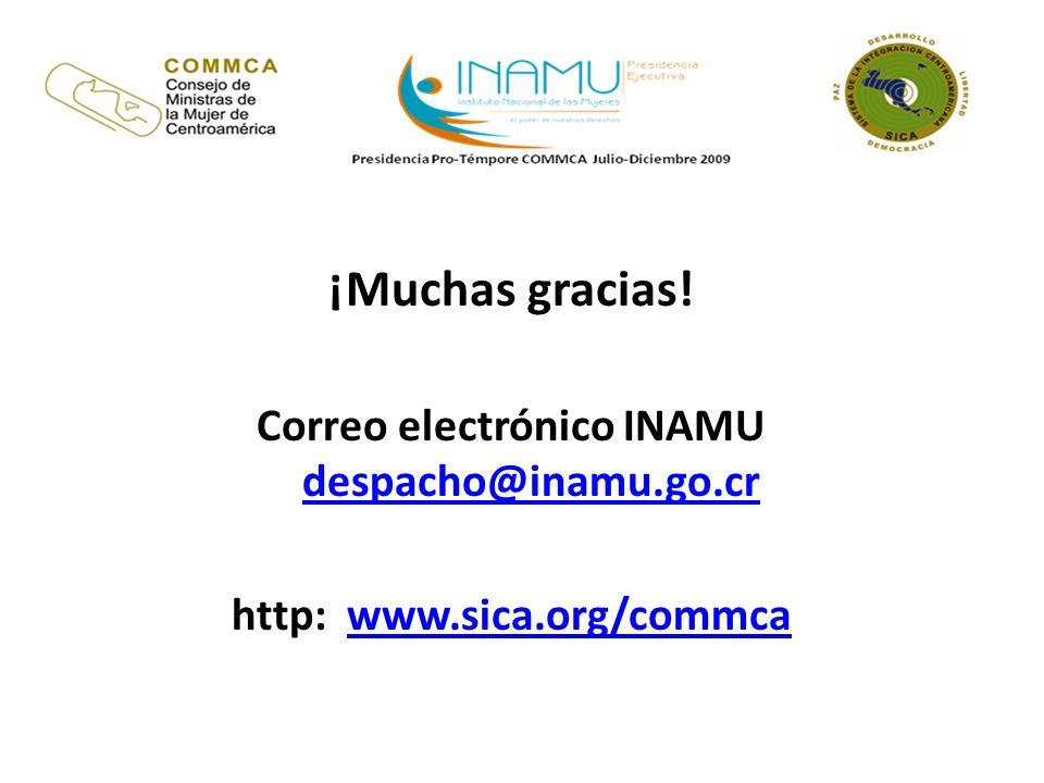 ¡Muchas gracias! Correo electrónico INAMU despacho@inamu.go.cr